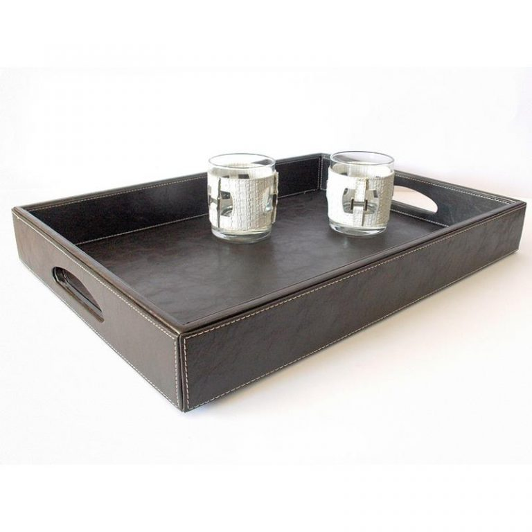 Faux Leather Butler Tray